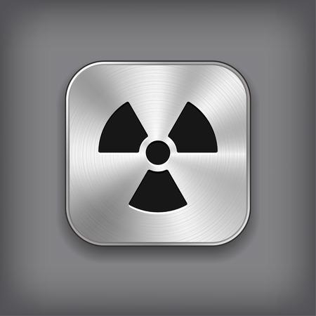 Radioaktivity icon - vector metal app button with shadow Stock Vector - 25653165