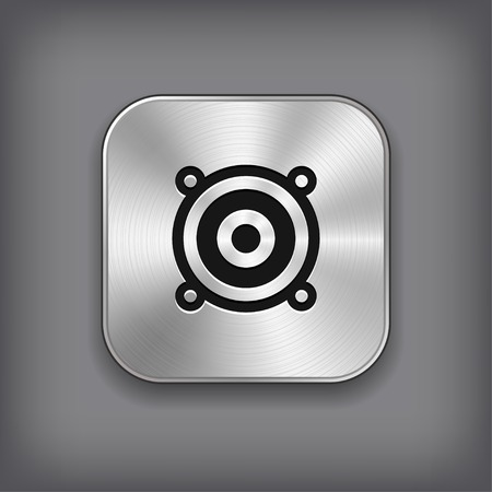 Audio speaker icon - vector metal app button with shadow Vector