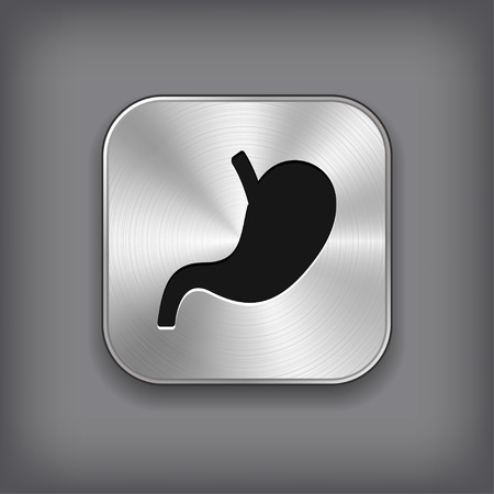 Stomach icon - vector metal app button with shadow Illustration