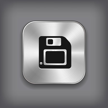 diskette: Floppy diskette icon - vector metal app button with shadow