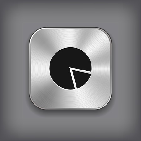 Diagram icon - vector metal app button Vector