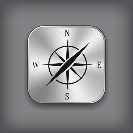 Compass icon - vector metal app button with shadow