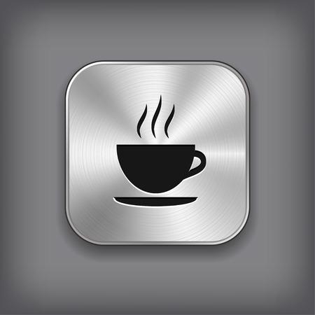 metal button: Coffee icon - vector metal app button Illustration