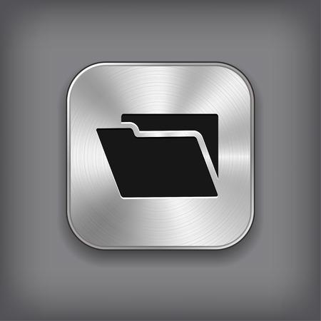 folder icon: Folder icon - vector metal app button Illustration
