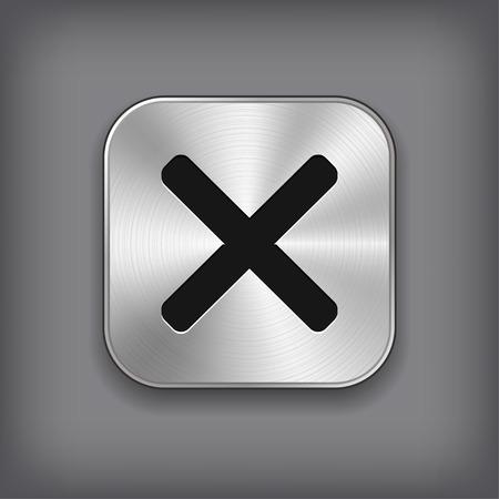 cancel icon: Cancel icon - vector metal app button