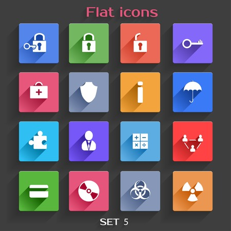 hazzard: Vector Application  Web Icons Set in Flat Design with Long Shadows Illustration
