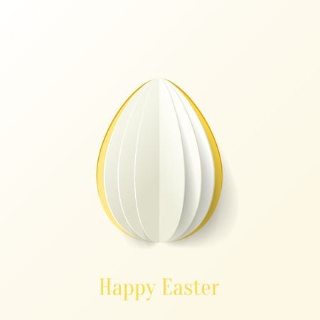 Abstract vector origami paper Easter egg greeting card template Vector