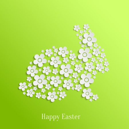 Abstract Vector Easter Rabbit Bunny of White Flowers on Green Background. Valentines day card Vector