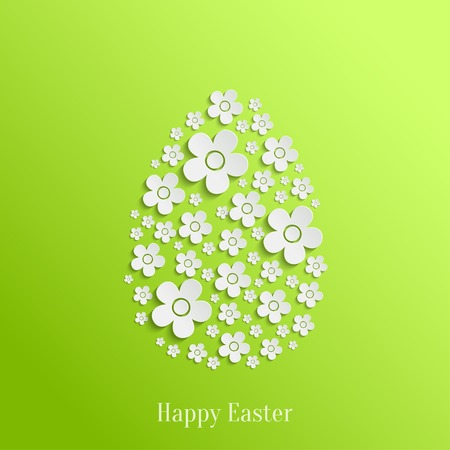 Abstract Vector Easter Egg of White Flowers on Green Background. Valentines day card Vector