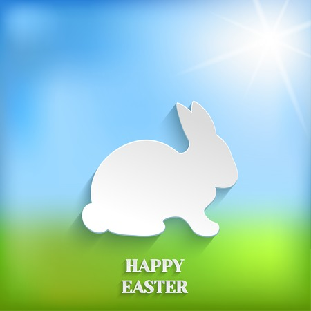 Cute Easter Rabbit Bunny on Spring Background, Vector Greeting Card Vector