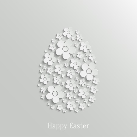 Abstract Vector Easter Egg made of White Flowers  Vector