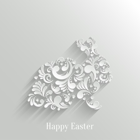 Abstract Background with Floral Easter Rabbit  Vector