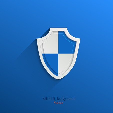 blue shield: Guardian shield, protection icon in flat style with long shadow Illustration