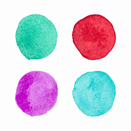 hand painted: Vector Color Isolated Watercolor Circles Set. Watercolour palette.