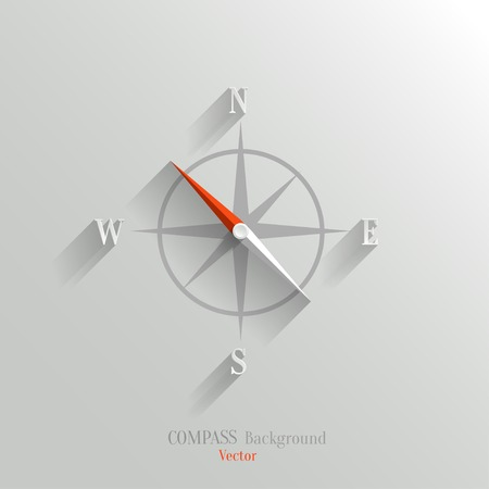Abstract vector compass icon with shadow in flat style Vector