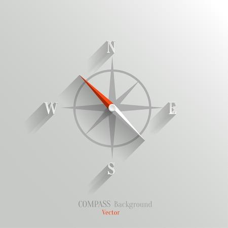 Abstract vector kompaspictogram met schaduw in de vlakke stijl