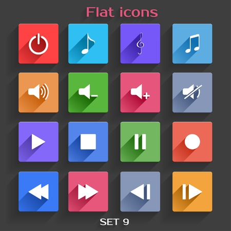 interface menu tool: Vector Application Web Icons Set in Flat Design with Long Shadows