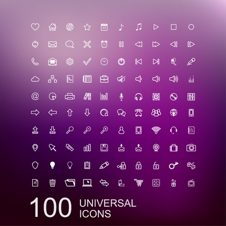 communication tools: Vector Set of 100 Universal Outline Icons for Web and User Interface Design