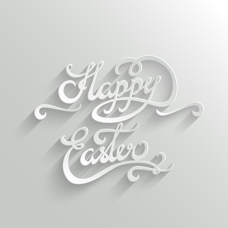 title hands: Happy Easter Hand lettering Greeting Card. Typographical Vector Background. Handmade calligraphy. Easy paste to any background