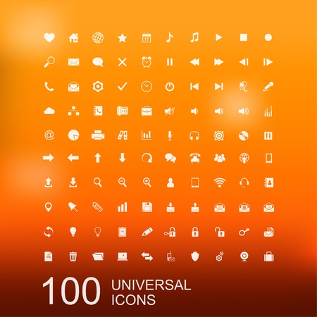 interface design: Vector Set of 100 Universal Icons for Web and User Interface Design