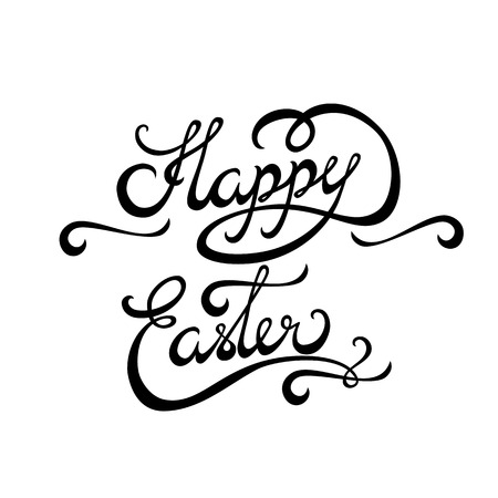 Happy Easter Hand lettering Greeting Card. Typographical Vector Background. Handmade calligraphy. Easy paste to any background Vector