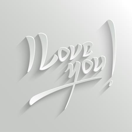 Ik hou van jou Hand Card belettering Groet. Typografische Vector Achtergrond. Handgemaakte kalligrafie. Makkelijk plakken op de achtergrond Stock Illustratie