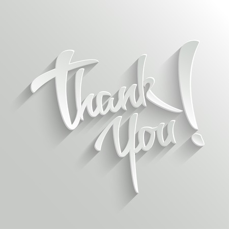 Thank You Hand lettering Greeting Card. Typographical Vector Background. Handmade calligraphy. Easy paste to any background