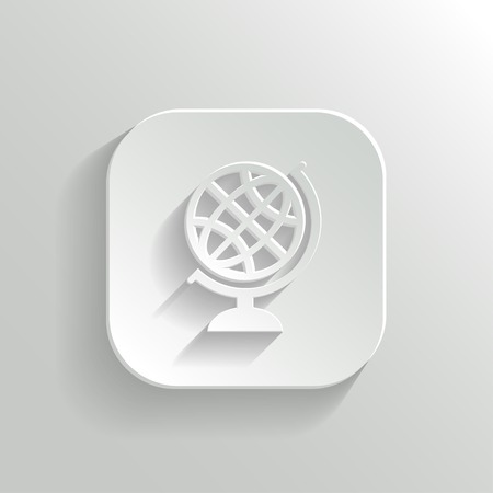 Globe icon - vector white app button with shadow Vector