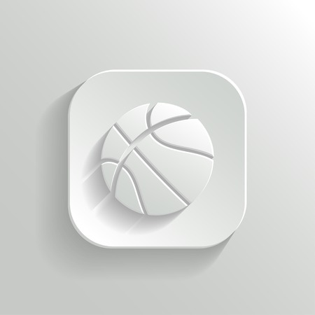 long play: Basketball icon - vector white app button with shadow
