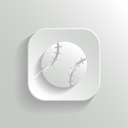 long play: Baseball icon - vector white app button with shadow Illustration