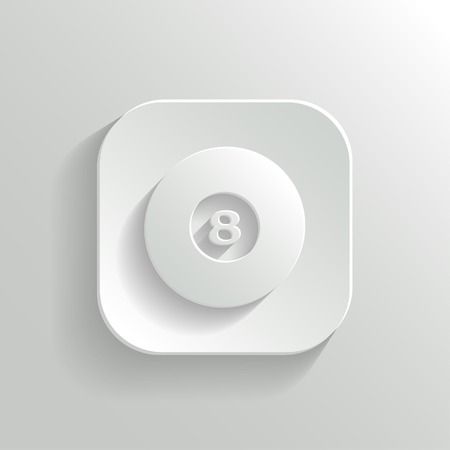 eightball: Billiard icon - vector white app button with shadow Illustration