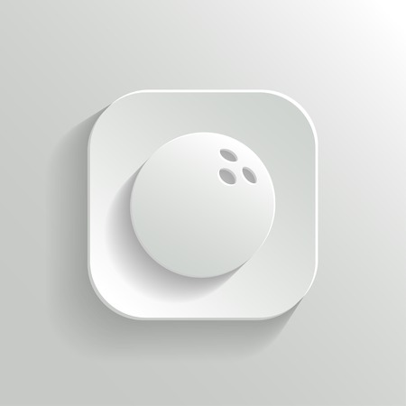 bowling ball: Bowling icon - vector white app button with shadow