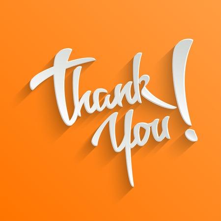 dank u: Thank You hand belettering wenskaart. Typografische Vector Achtergrond. Handgemaakte kalligrafie. Gemakkelijk pasta om het even welke achtergrond