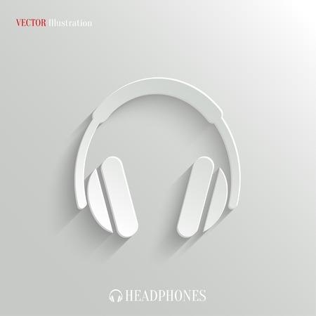 ヘッドフォンのアイコン - ベクトル web イラスト、簡単な任意の背景に貼り付ける