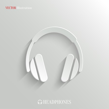 headset symbol: Headphones icon - vector web illustration, easy paste to any background Illustration