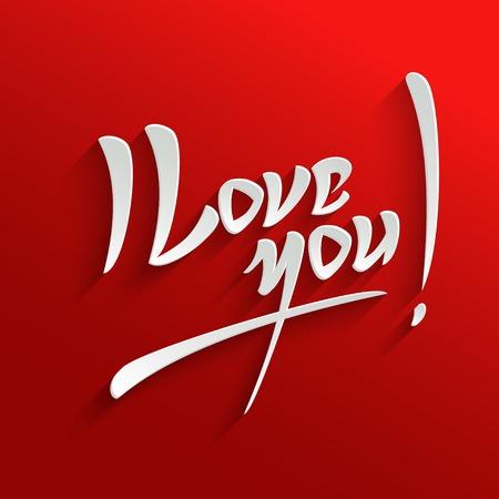 carta de amor: Te Amo letras de la mano la tarjeta de felicitaci�n. Tipogr�fico Vector Background. Caligraf�a hecha a mano. F�cil pegar a cualquier fondo