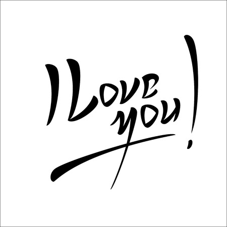 typography signature: Love You Hand lettering Greeting Card. Typographical Vector Background. Handmade calligraphy. Easy paste to any background