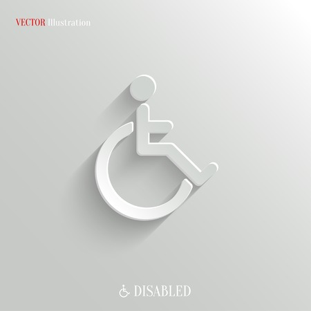 wheelchair: Disabled icon - vector web illustration, easy paste to any background