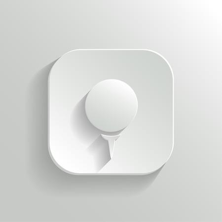 Golf icon - vector white app button with shadow Vector