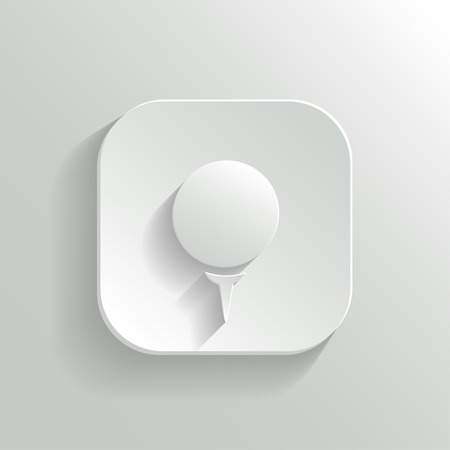 golf tee: Golf icon - vector white app button with shadow