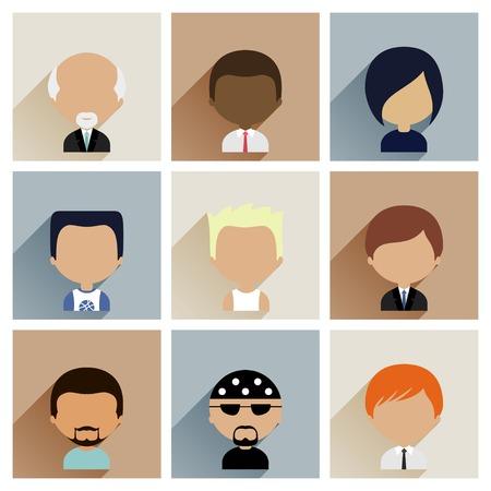 hombres negros: Coloridos iconos avatares Situado en Plano Estilo