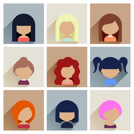 Colorful Avatars Icons Set in Flat Style with Long Shadow Vector