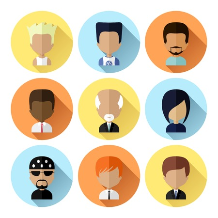 man long hair: Colorful Male Avatars Circle Icons Set in Flat Style with Long Shadow Illustration