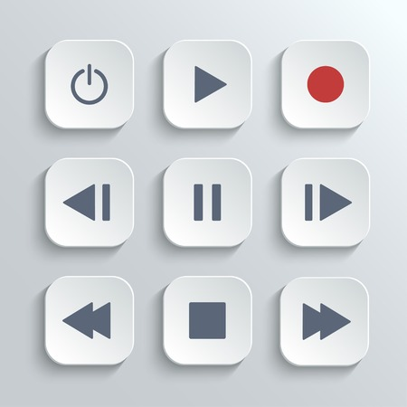 Media player control ui icon set Vector