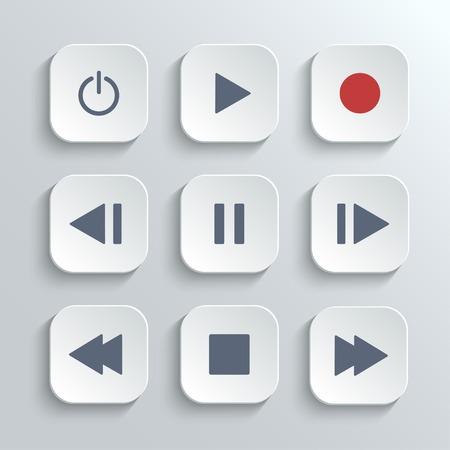 Ui control del reproductor multimedia icon set Ilustración de vector