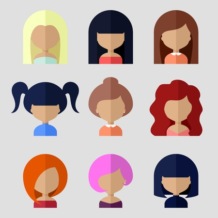 Colorful Avatars Icons Set in Flat Style Vector
