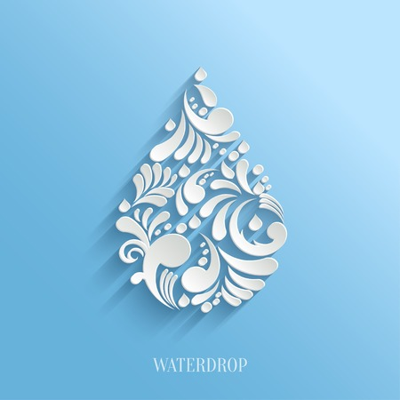 Abstract  Vector Floral Water Drop on Blue Background.  Eco Concept. Illustration