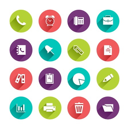 icon contact: Vector Application  Office and Business Icons Set in Flat Design with Long Shadows on circle buttons with phone alarm clock fax briefcase pin document file folder diagram pen printer trash can signs