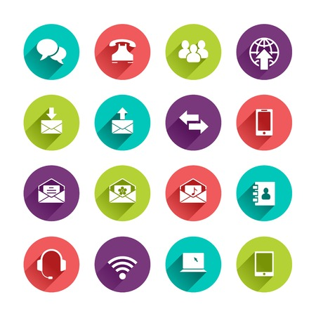 Vector Web Icons Set in Flat Design with Long Shadows on circle buttons with speech bubble phone group of people email arrows smartphone phonebook headphones wi-fi tablet notebook laptop signs Illustration