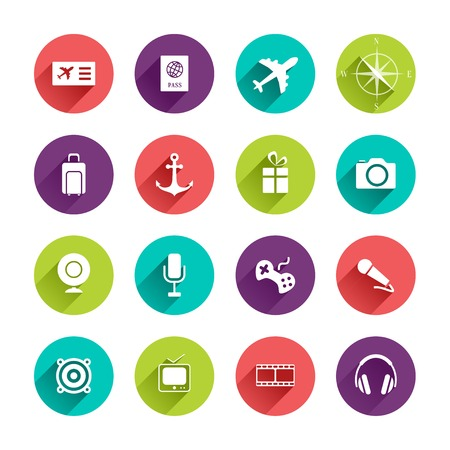 webcamera: Vector Travel Icons Set in Flat Design with Long Shadows on circle buttons with ticket passport airplane compass bag anchor gift camera webcamera mic game speaker tv cinema headphones signs